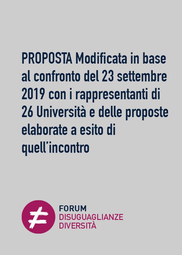 PROPOSTA Modificata in base al confronto del 23 settembre 2019 con i rappresentanti di 26 Università e delle proposte elaborate a esito di quell'incontro